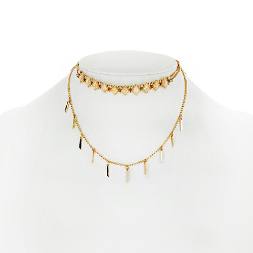 Panacea Embroidered Choker Necklace, Navy