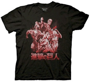 "Attack On Titan T-Shirt 4 Titans ""Black)"