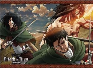 Attack on Titan Wallscroll - Titan Eren, Mikasa & Levi