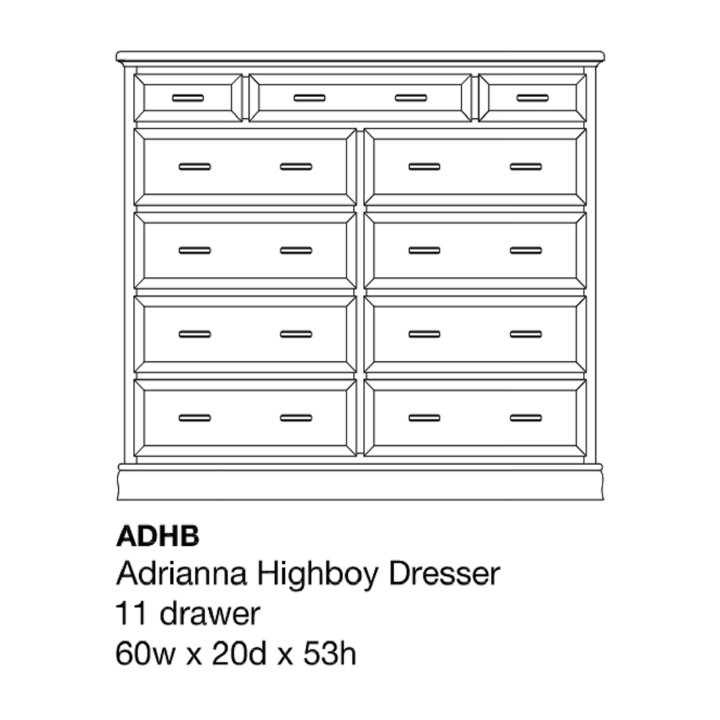 Adrianna High Boy Dresser