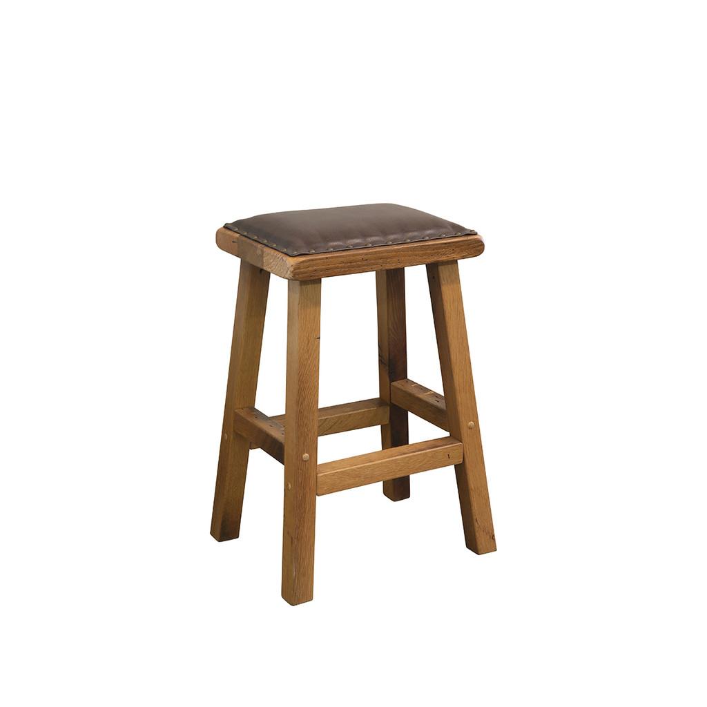 Bar Stool (Barn Wood / Leather Seat)