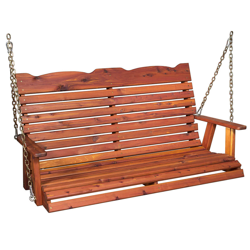 Cedar Straightback Loveseat Porch Swing