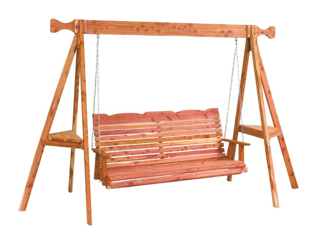 Cedar Straightback Loveseat Swing with Tripod