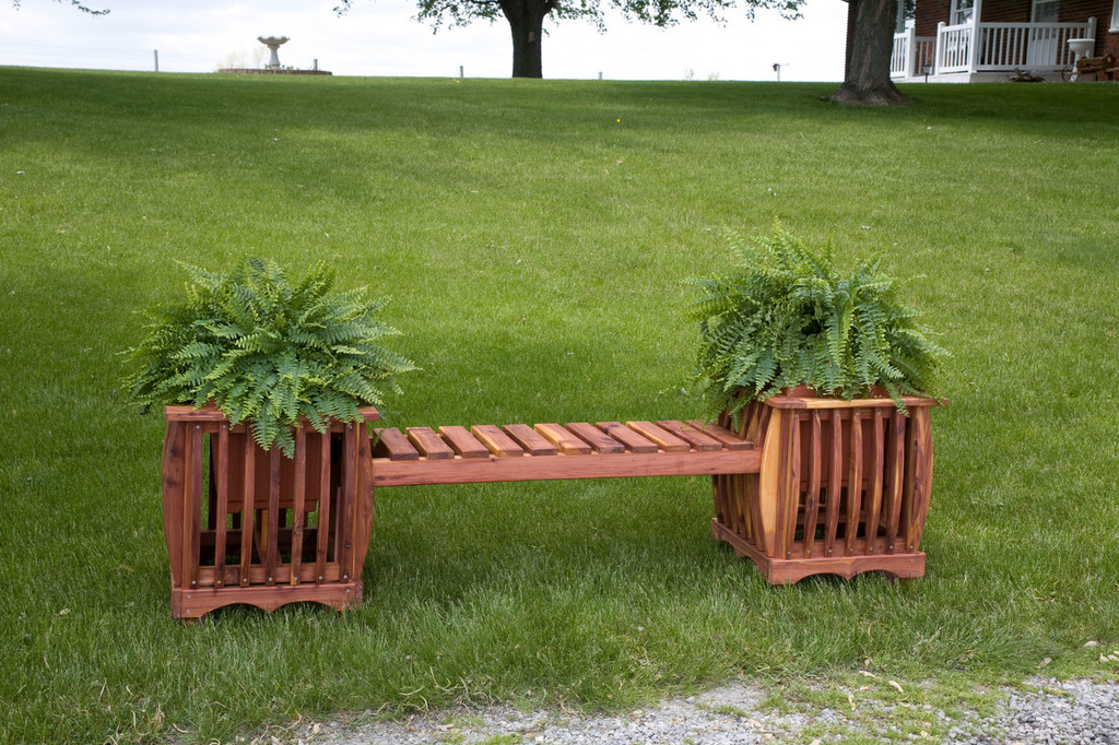 Cedar Garden Planters with Sitting Bench