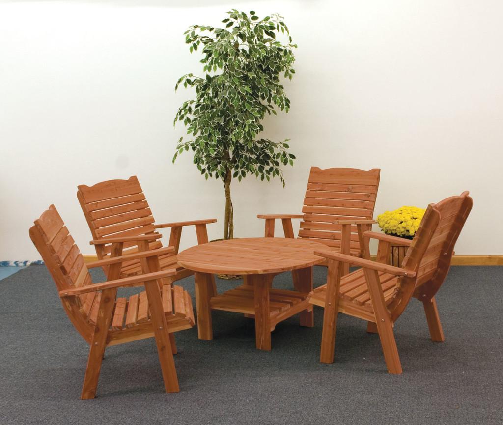Cedar Coffee Table (Round) & Chairs Set