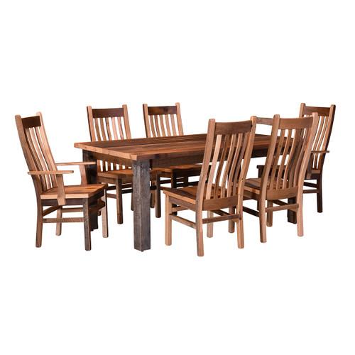 Almanzo Table (Barn Wood / Square Leg & Black Base)