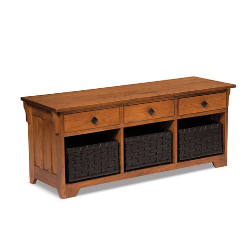 Lattice Weave Drawer Bench