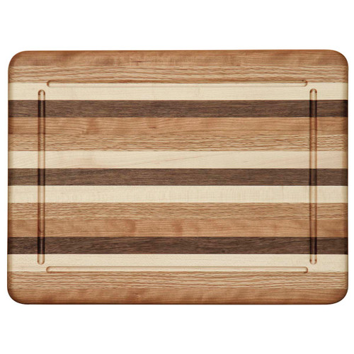 Multi-Wood Narrow Striped Cutting Board (Blood Groove)