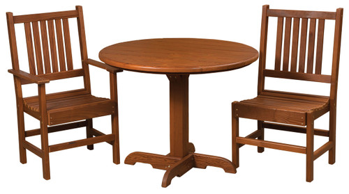 Cedar Single Pedestal Table & Chairs Set