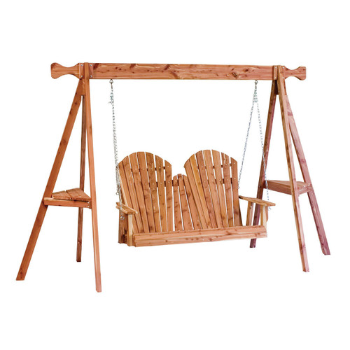 Cedar Adirondack Loveseat Swing with Tripod