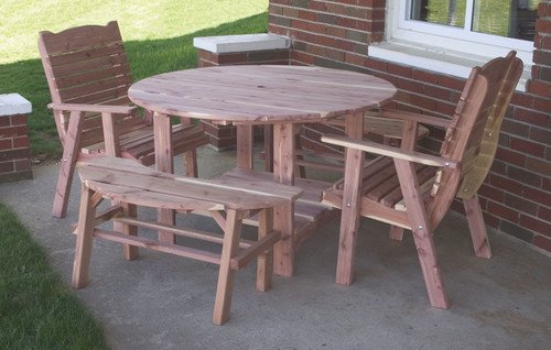 "48"" Round Cedar Picnic Table, Chairs & Benches Set"