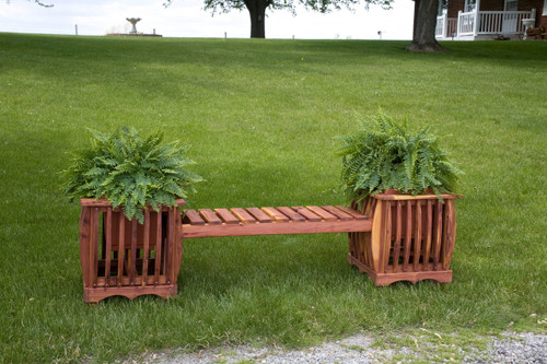 Cedar Garden Planters with Sitting Bench - Mattie Lu