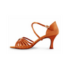 """Bloch Rosalina Satin Latin Shoe With 2.3"""" Flared Heel In Dark Tan"""