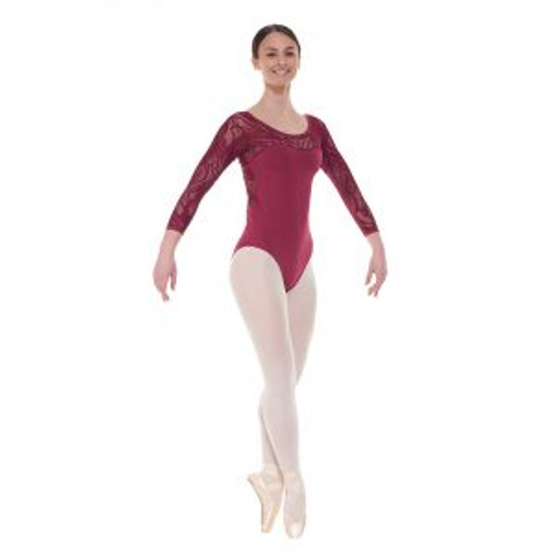 Elegance Collection 3/4 Length Sleeved Leotard with Sweetheart Neckline Burgundy