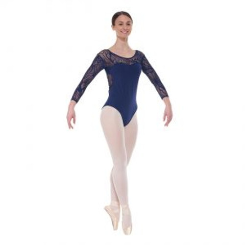 Elegance Collection 3/4 Length Sleeved Leotard with Sweetheart Neckline Navy