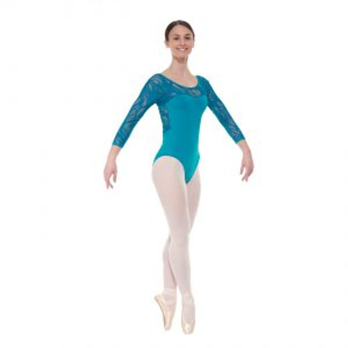 Elegance Collection 3/4 Length Sleeved Leotard with Sweetheart Neckline Teal