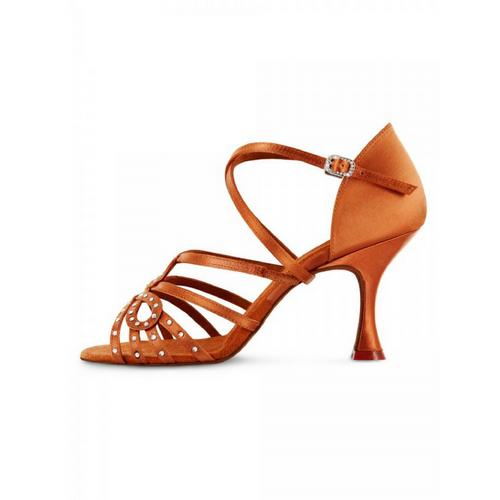 "Bloch Marcella Satin Latin Shoe With 2.75"" Plume Heel In Dark Tan"
