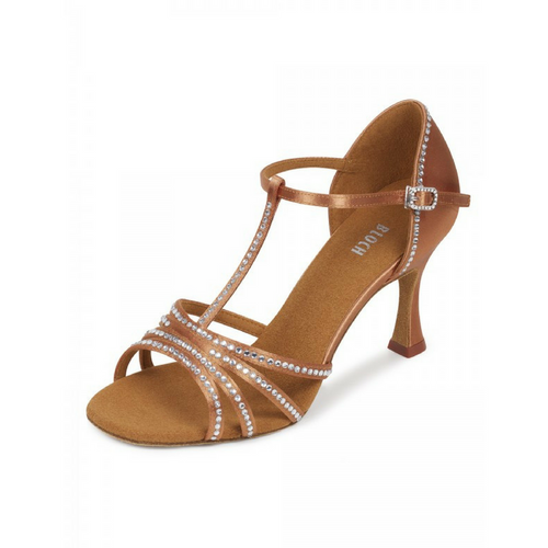 "Bloch Guilia Satin Latin Shoe With 3.15"" Flared Heel In Dark Tan"