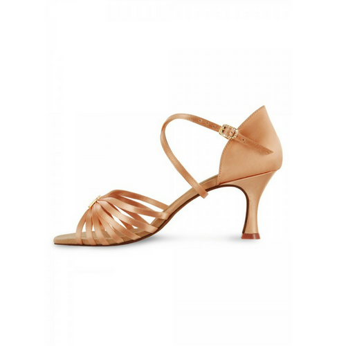 "Bloch Rosalina Satin Latin Shoe With 2.3"" Flared Heel In Tan"