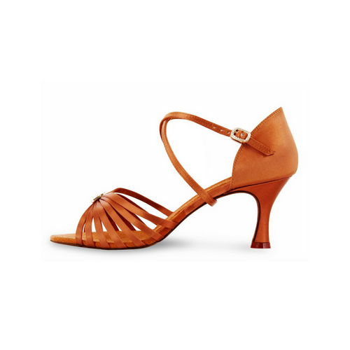 "Bloch Rosalina Satin Latin Shoe With 2.3"" Flared Heel In Dark Tan"