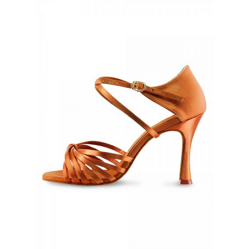 "Bloch Vitoria Satin Latin Shoe With 3.15"" Flared Heel In Dark Tan"