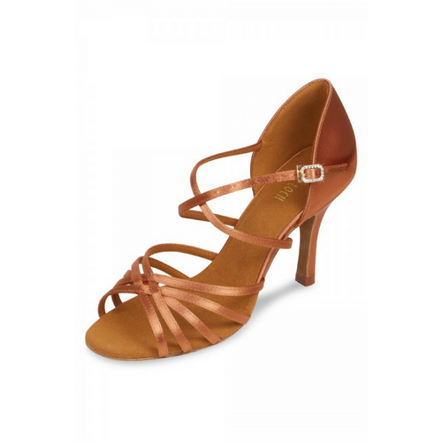 "Bloch Ola Satin Latin Shoe With 3"" Slim Heel In Dark Tan"