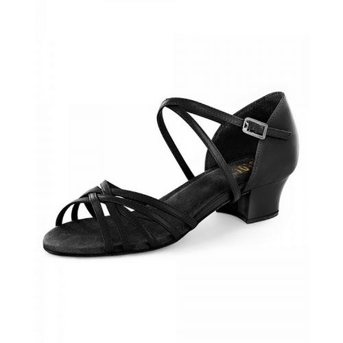 "Bloch Annabella Leather Ballroom Shoe With 1.5"" Wide Heel In Black"