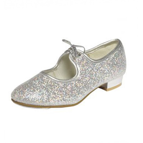 Tappers & Pointers Silver Hologram Low Heel Toe Tap Fitted