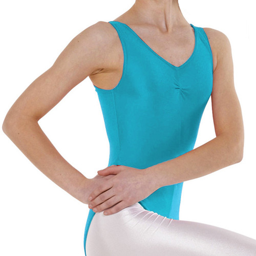 The Performance Academy Kingfisher Ruched Front Tank Leotard