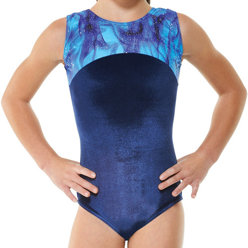 TAPPERS & POINTERS GYM/22 SMOOTH VELVET AND GALAXY PRINT LEOTARD