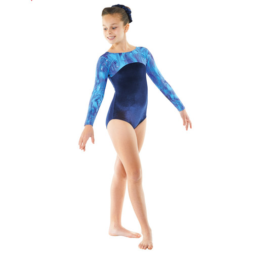 TAPPERS & POINTERS GYM/23 SMOOTH VELVET AND GALAXY PRINT LEOTARD Jr