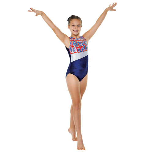 TAPPERS & POINTERS GYM/25 VELVET AND UNION FLAG PRINT LEOTARD Jr