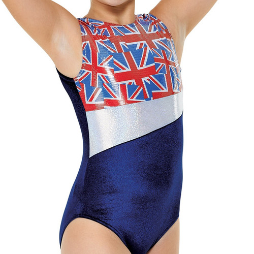 TAPPERS & POINTERS GYM/25 VELVET AND UNION FLAG PRINT LEOTARD