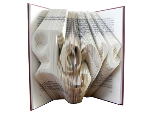 """This folded book sculpture says """"Love"""" in a script font"""