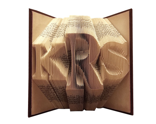 """This monogrammed folded book has the letter """"KRS"""""""