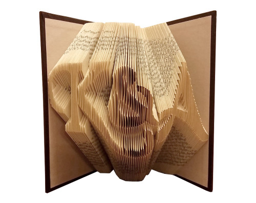 "Folded book art with the initials ""K&A"" in a script font"