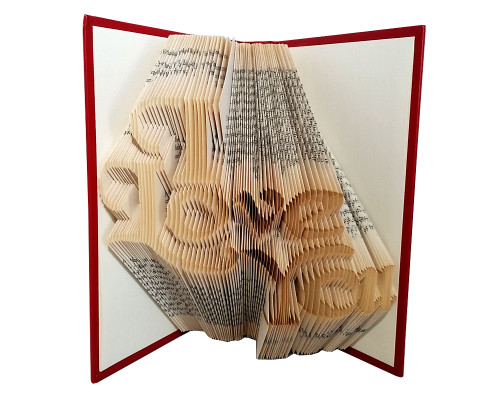 "Folded book art with a design that reads ""I Love You"""