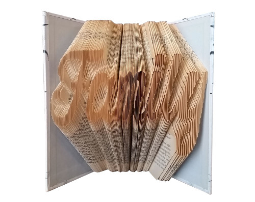 """A folded book that reads """"Family"""""""