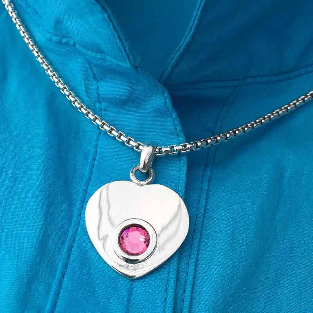 Heart Pendant Silver with Swarovski Crystal on Blouse