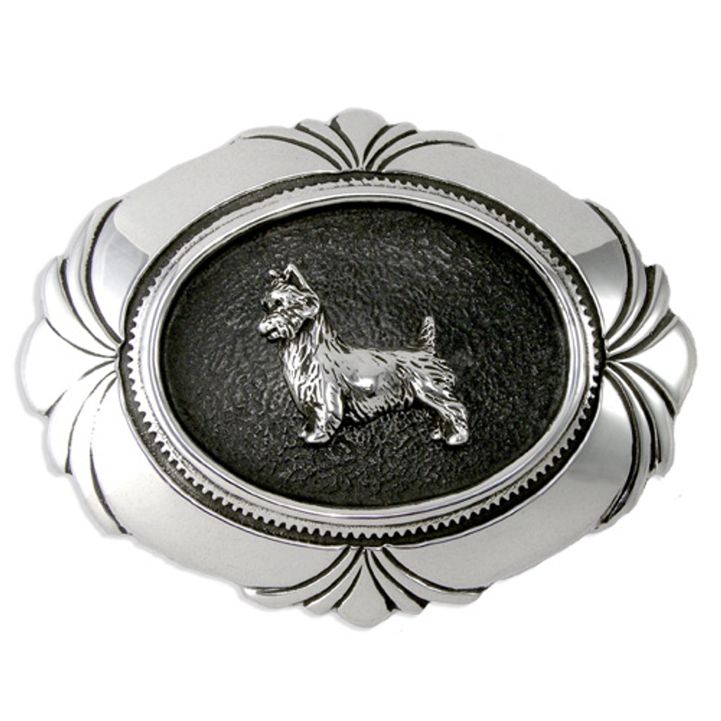 Belt Buckle With Dog Breed Silver
