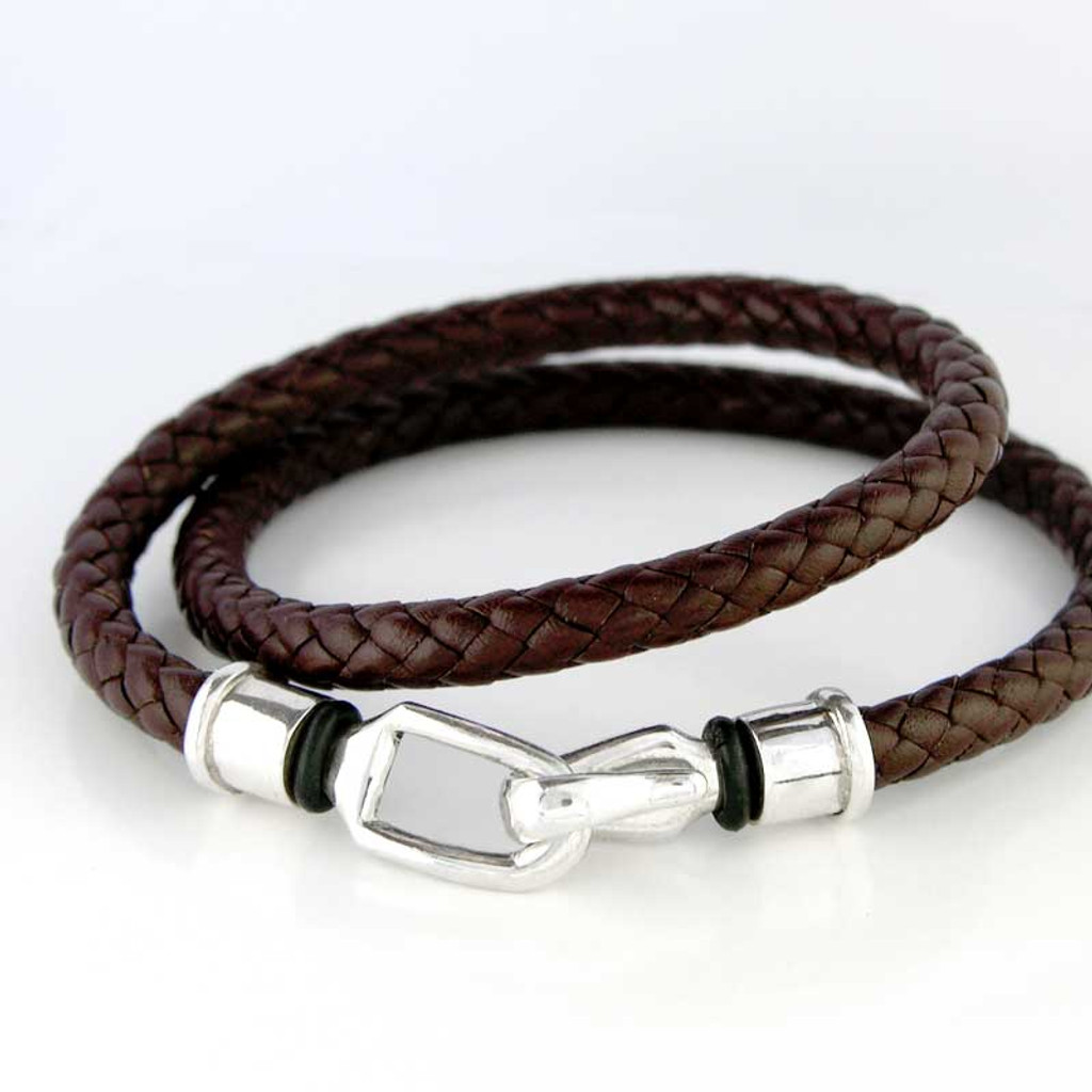 Braided Leather Wrap Hook Clasp Bracelet