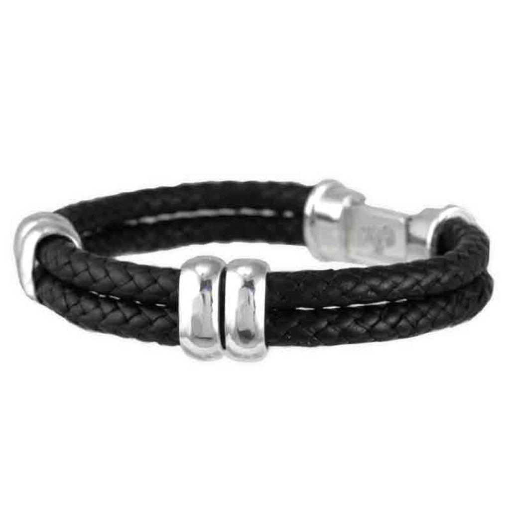 Box Clasp Braided Leather Bracelet