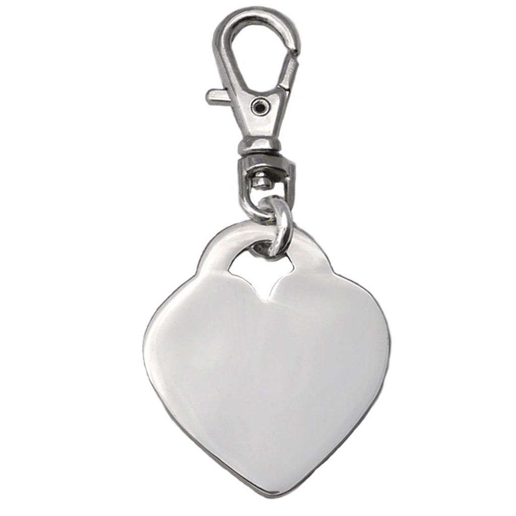 Sterling Silver Heart ID Tag - engrave both sides
