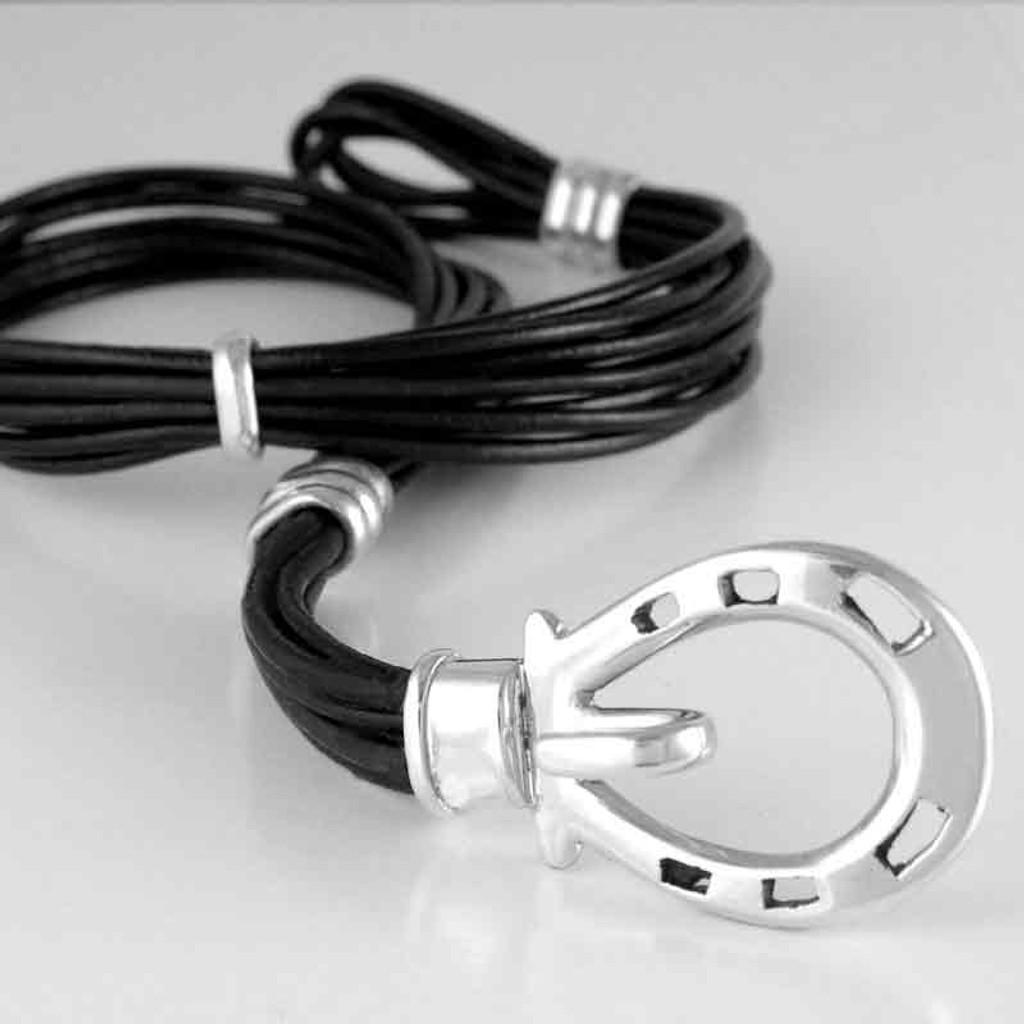 Horse Shoe Clasp Leather Wrap Bracelet