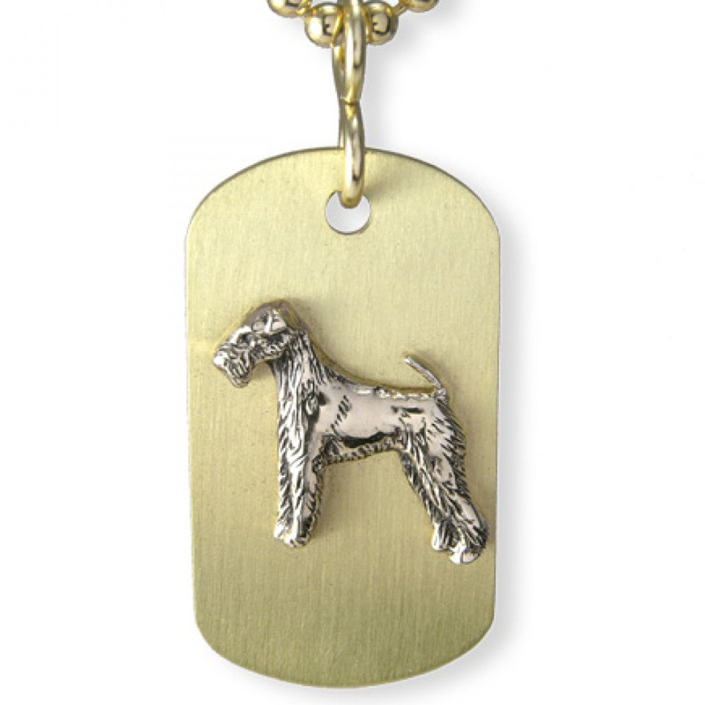 Brass ARF Tag with Lakeland Terrier - vertical
