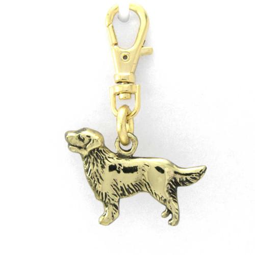 Golden Retriever with soft coat Zipper Pull in Brass