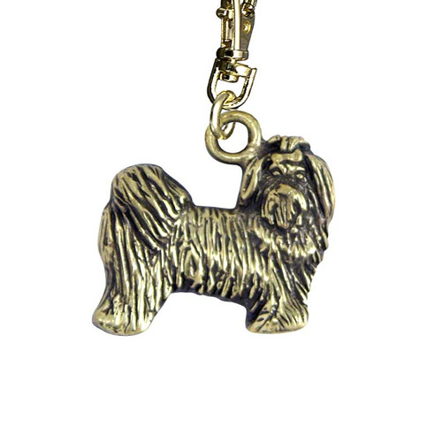Maltese Puppy Brass Zipper Pull