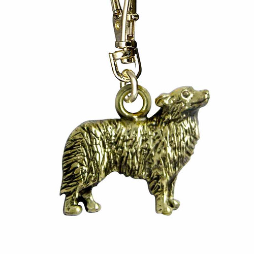 Border Collie Brass Zipper Pull