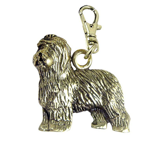 Old English Sheepdog Brass Zipper Pull
