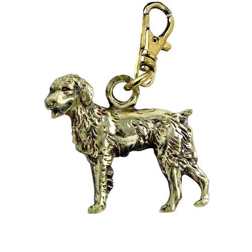 Brittany Spaniel Zipper Pull Brass